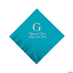 Personalized Silver Monogram Beverage Napkins - Turquoise