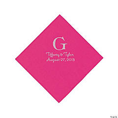 Personalized Silver Monogram Luncheon Napkins - Hot Pink