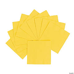 Personalized Beverage Napkins - Yellow with Silver Print