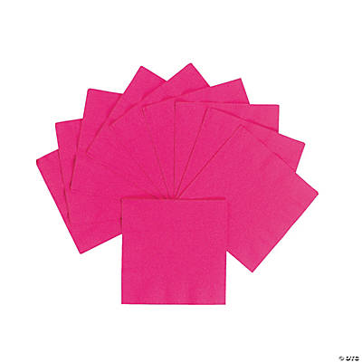 Personalized Beverage Napkins - Hot Pink with Gold Print