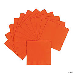 Personalized Luncheon Napkins - Orange with Gold Print