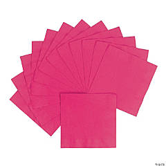 Personalized Luncheon Napkins - Hot Pink with Silver Print