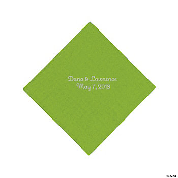 Personalized Silver Luncheon Napkins - Lime Green