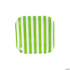 Lime Green Striped Square Dessert Plates