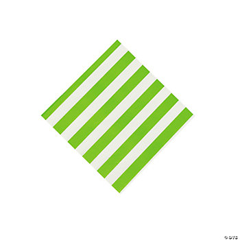 Lime Green Striped Beverage Napkins