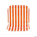 Orange Striped Square Dessert Plates