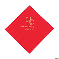 Personalized Western Red Lunch Napkins