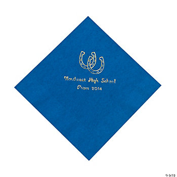 Personalized Western Blue Lunch Napkins