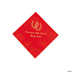 Western Red Personalized Beverage Napkins with Gold Print