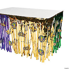 Mardi Gras Fringe Table Skirt with Cutouts