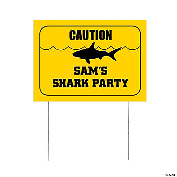 "Personalized Small Shark Party ""Caution"" Yard Sign"