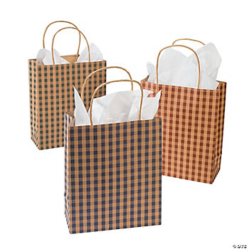 12 Country Gingham Gift Bags
