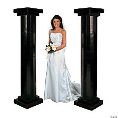 Large Black Fluted Pillars