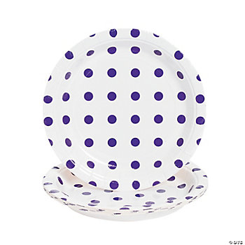 Purple Polka Dot Dessert Plates
