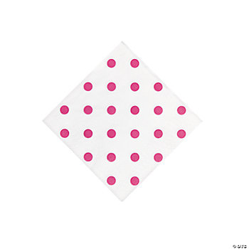 Hot Pink Polka Dot Beverage Napkins