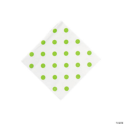 Lime Green Polka Dot Beverage Napkins