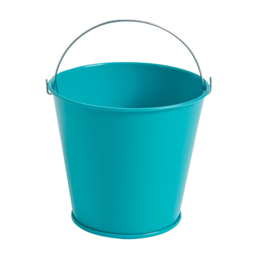 Turquoise Tinplate Pails with Handles - Solid Color Party Supplies &