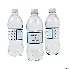 Personalized Blue Polka Dot Water Bottle Labels