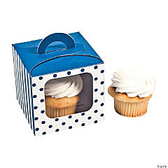 Blue Polka Dot Cupcake Boxes with Handle