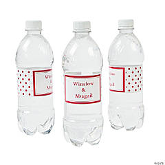 Personalized Red Polka Dot Water Bottle Labels