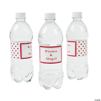 Red Polka Dot Personalized Water Bottle Labels