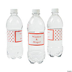 Personalized Orange Polka Dot Water Bottle Labels