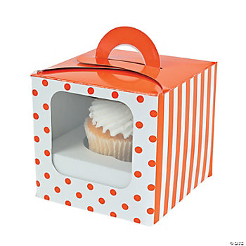 Orange Polka Dot Cupcake Boxes With Handle