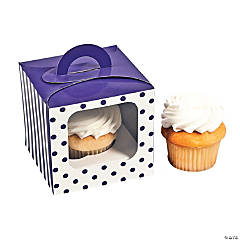 Purple Polka Dot Cupcake Boxes With Handle