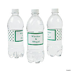 Personalized Green Polka Dot Water Bottle Labels