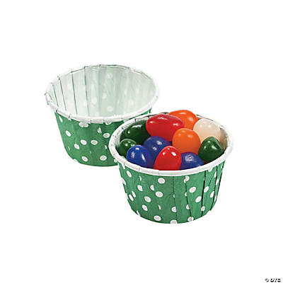 Green Polka Dot Snack Cups