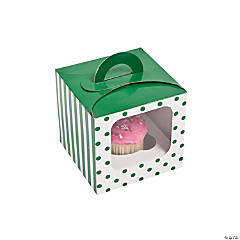 Green Polka Dot Cupcake Boxes With Handle