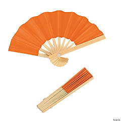 Mini Orange Bamboo Fans