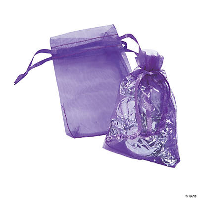 Mini Purple Drawstring Bags