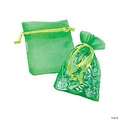 Mini Lime Green Organza Drawstring Bags