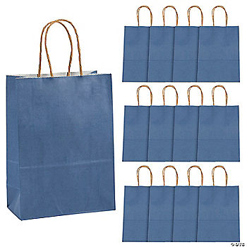 Blue medium kraft paper bags for Craft paper gift bags