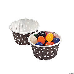 Chocolate Brown Polka Dot Snack Cups