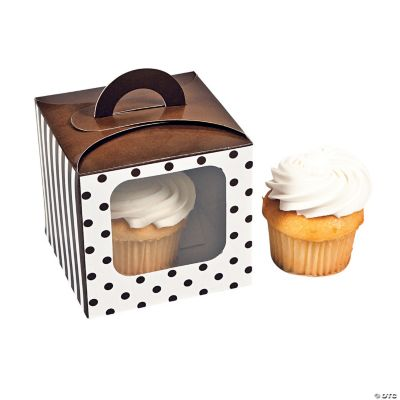Chocolate Brown Polka Dot Cupcake Boxes with Handle