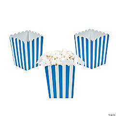 Mini Blue Striped Popcorn Boxes