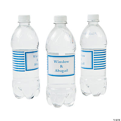Personalized Blue Striped Water Bottle Labels