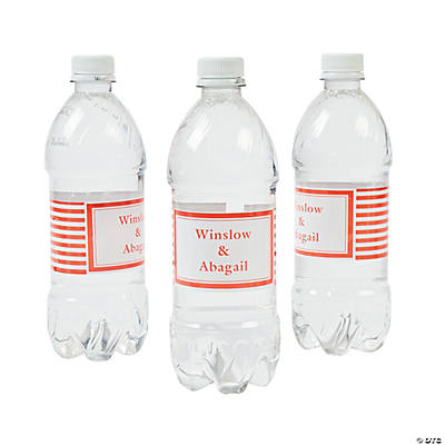Personalized Orange Striped Water Bottle Labels