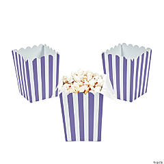 Mini Purple Striped Popcorn Boxes