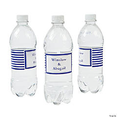 Personalized Purple Striped Water Bottle Labels