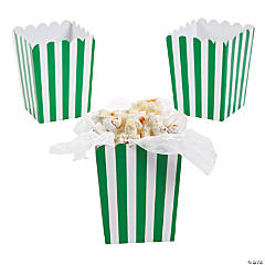 Mini Green Striped Popcorn Boxes