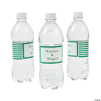 Personalized Green Striped Water Bottle Labels