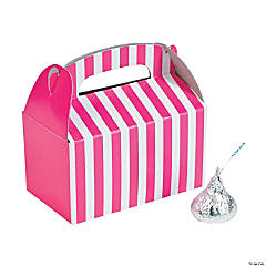 Mini Hot Pink Striped Treat Boxes