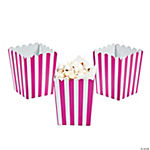 Mini Hot Pink Striped Popcorn Boxes
