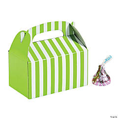 Paper Mini Lime Green Striped Treat Boxes