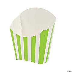 Lime Green Striped Fry Containers