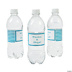 Personalized Turquoise Striped Water Bottle Labels