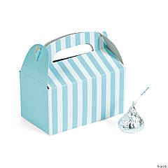 Mini Light Blue Striped Treat Boxes
